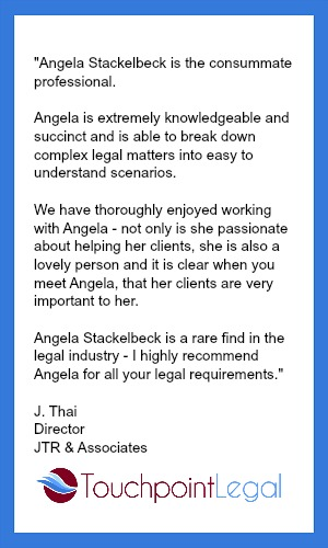 Testimonial Angela Stackelbeck Touchpoint Legal
